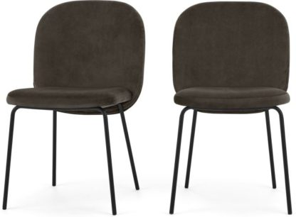 An Image of Set of 2 Safia Dining Chairs, Otter Grey Velvet