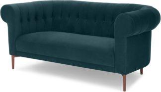 An Image of Hammond 2 Seater Sofa, Lagoon Blue Velvet