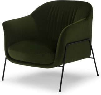 An Image of Lucie Accent Armchair, Olive Green Velvet