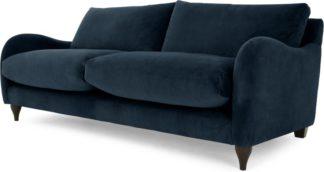An Image of Sofia 3 Seater Sofa, Plush Indigo Velvet