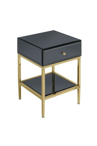 An Image of Stiletto Toughened Black Glass and Brass Side Table