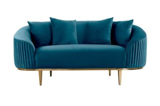 An Image of Ella Two Seat Sofa - Peacock- Brass Base