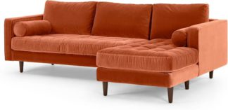 An Image of Scott 4 Seater Right Hand Facing Chaise End Corner Sofa, Burnt Orange Cotton Velvet
