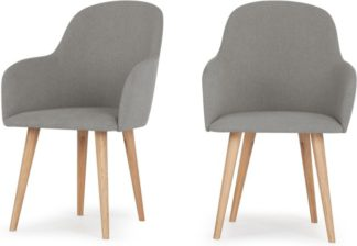 An Image of Set of 2 Stig High Back Carver Dining Chairs, Manhattan Grey and Oak