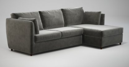 An Image of Custom MADE Milner Right Hand Facing Corner Storage Sofa Bed with Memory Foam Mattress, Steel Grey Velvet