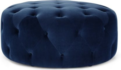 An Image of Hampton Large Round Pouffe, Electric Blue Velvet