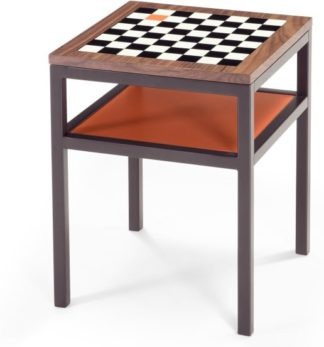 An Image of Contrast Chess Side Table, Walnut and Orange