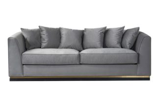 An Image of Pino Three Seat Sofa - Dove Grey - Brass Base