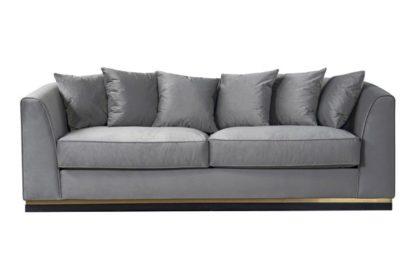An Image of Pino Three Seat Sofa - Dove Grey - Brass Base