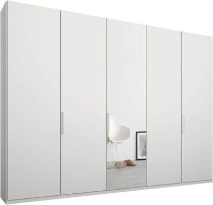 An Image of Caren 5 door 250cm Hinged Wardrobe, White Frame, Matt White & Mirror Doors, Standard Interior