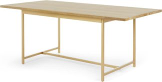 An Image of Aphra 8 Seat Dining table, Light Mango Wood and Brass