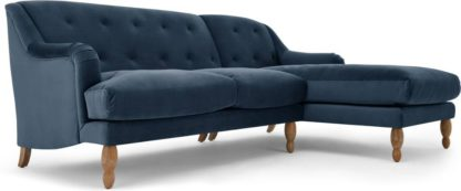 An Image of Ariana Right Hand Facing Chaise End Corner Sofa, Sapphire Velvet