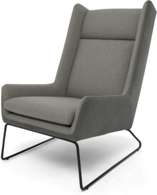 An Image of Hicks Wing Back Armchair, Anthracite Grey Leather with Pheasant Grey fabric