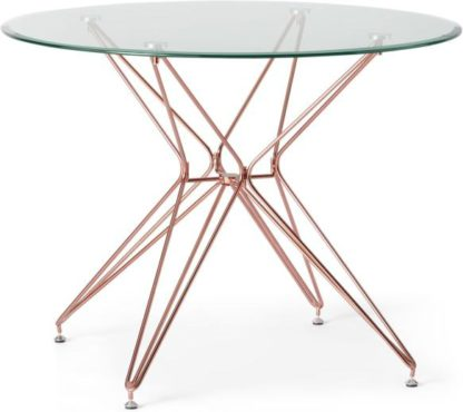 An Image of Belden 4 Seat Round Dining Table, Glass and Copper