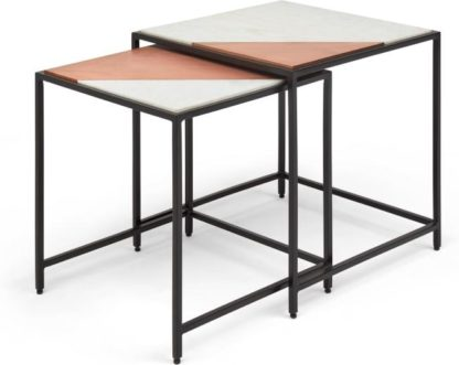 An Image of Elnaz Set of 2 Nesting Side Tables, Copper and White Marble