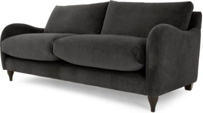 An Image of Sofia 2 Seater Sofa, Plush Asphalt Velvet
