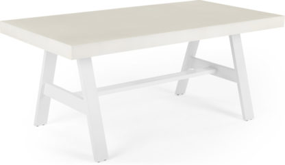 An Image of Edson Garden Large Dining Table, Light Cement and White Metal