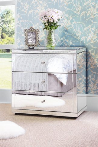 An Image of FLAVIA Mirrored Low Chest with 3 Drawers and Plinth