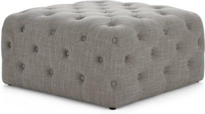 An Image of Hampton Square Pouffe, Linen Mix Grey