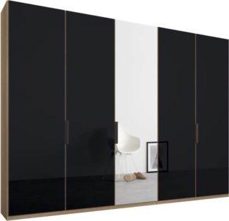 An Image of Caren 5 door 250cm Hinged Wardrobe, Oak Frame, Basalt Grey Glass & Mirror Doors, Classic Interior
