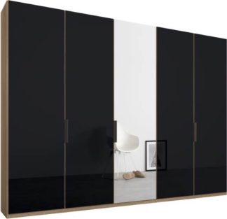 An Image of Caren 5 door 250cm Hinged Wardrobe, Oak Frame, Basalt Grey Glass & Mirror Doors, Standard Interior