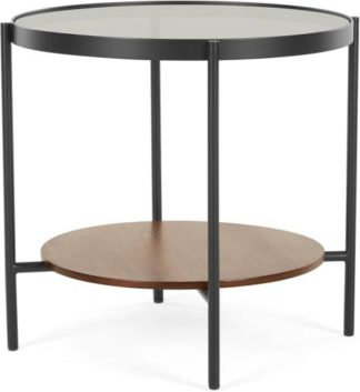 An Image of Kameko Round Side Table, Walnut and Glass