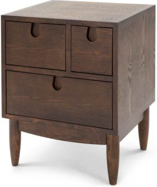An Image of Penn Multi-Drawer Bedside Table, Dark Stain Ash