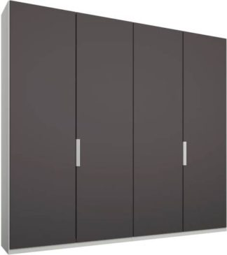 An Image of Caren 4 door 200cm Hinged Wardrobe, White Frame, Matt Graphite Grey Doors, Standard Interior