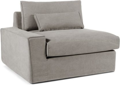 An Image of Trent Loose Cover Modular Left Hand Facing Sofa Arm, Washed Grey Cotton