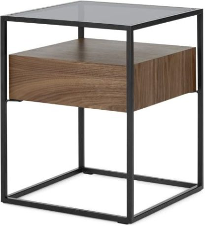 An Image of Jaxta Bedside, Walnut and Smoked Glass