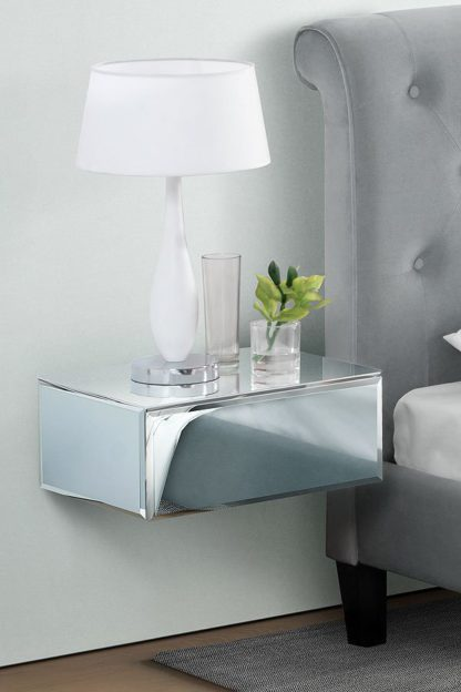 An Image of Inga Mirrored Floating Bedside / Console / Shelf / Storage System