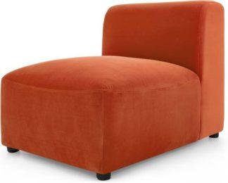 An Image of Juno Modular Single Seat, Flame Orange Velvet