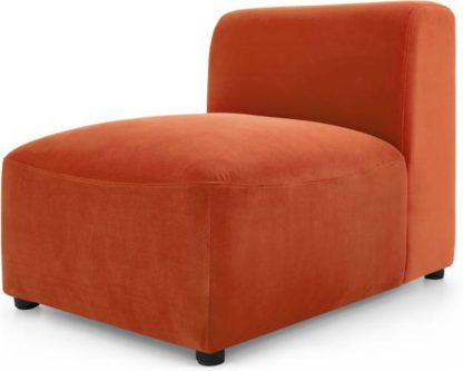 An Image of Juno Modular Single Seat, Flame Orange Velvet