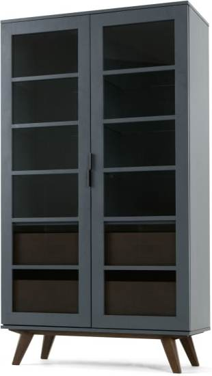 An Image of Aveiro Display Cabinet, Grey and Glass