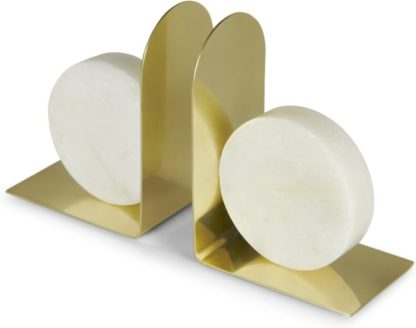 An Image of Badden Marble Decorative Book Ends, White and Brass