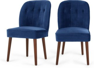An Image of Set of 2 Margot Dining Chairs, Electric Blue Velvet