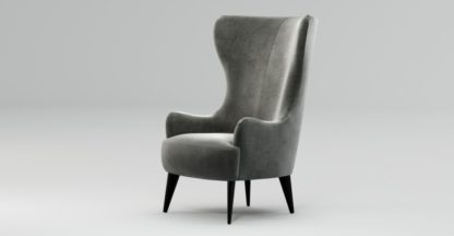 An Image of Custom MADE Bodil Accent Chair, Steel Grey Velvet with Black Wood Leg