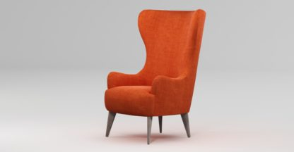 An Image of Custom MADE Bodil Accent Chair, Rust Orange with Light Wood Leg
