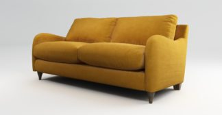 An Image of Custom MADE Sofia 2 Seater Sofa, Plush Tumeric Velvet with Light Wood Legs