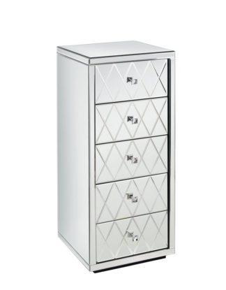 An Image of KNIGHTSBRIDGE Mirrored Tallboy Chest with 5 Drawers and Plinth