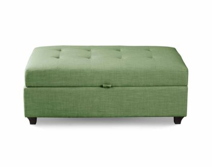 An Image of Leon Upholstered Ottoman - Jade