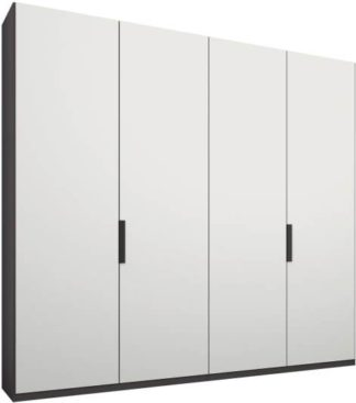 An Image of Caren 4 door 200cm Hinged Wardrobe, Graphite Grey Frame, Matt White Doors, Standard Interior