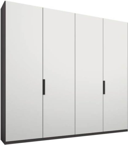 An Image of Caren 4 door 200cm Hinged Wardrobe, Graphite Grey Frame, Matt White Doors, Standard Interior