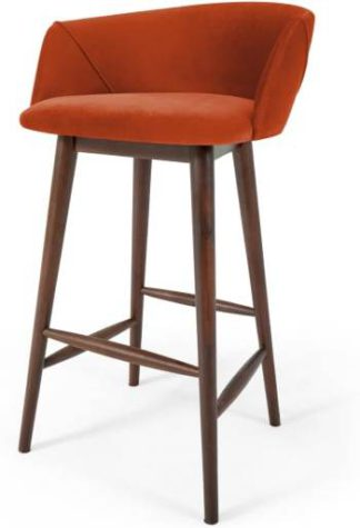An Image of Lule Bar Stool, Flame Orange Velvet