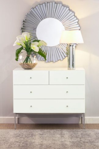 An Image of Stiletto Toughened White Glass and Chrome Chest of Drawers