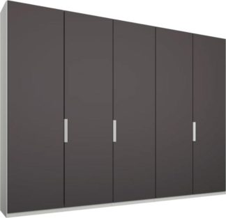An Image of Caren 5 door 250cm Hinged Wardrobe, White Frame, Matt Graphite Grey Doors, Premium Interior