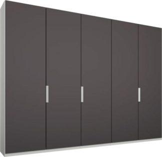 An Image of Caren 5 door 250cm Hinged Wardrobe, White Frame, Matt Graphite Grey Doors, Standard Interior