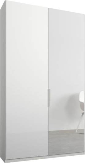 An Image of Caren 2 door 100cm Hinged Wardrobe, White Frame, White Glass & Mirror Doors, Premium Interior
