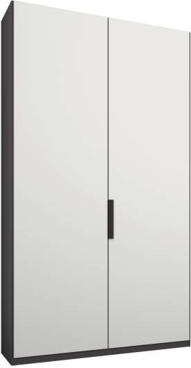 An Image of Caren 2 door 100cm Hinged Wardrobe, Graphite Grey Frame, Matt White Doors, Standard Interior