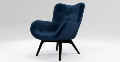 An Image of Custom MADE Doris Accent Chair, Regal Blue Velvet with Black Wood Leg